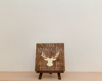 Man Cave Sign with Deer Wood Sign