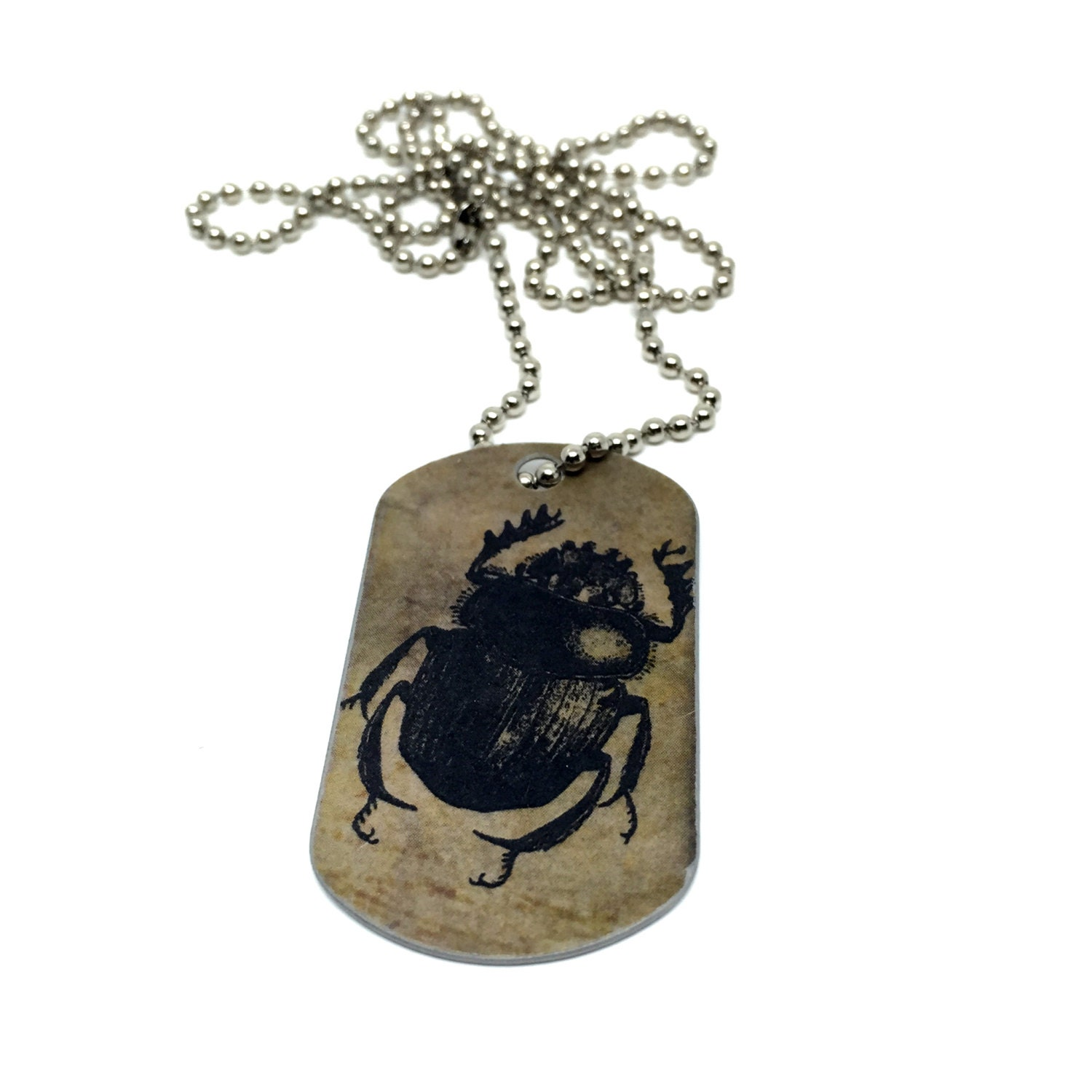 Scarab Beetle Jewelry Steampunk Chain Necklace Dog Tag