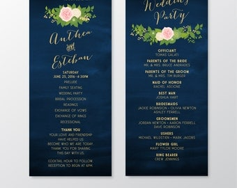 The JULIE . Program Wedding Ceremony Mass Card . Printed 4 x 11 Cards . Gold Calligraphy & Navy Chalkboard Blush Rose Dahlia Peony Hydrangea