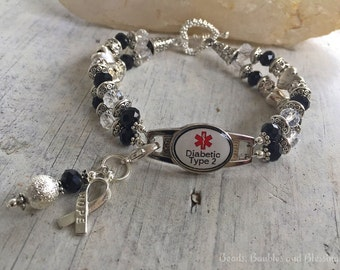 Medical Alert Bracelet, Diabetic Alert Bracelet, Diabetes Type 2 Bracelet, Diabetic Awareness Bracelet, Medical ID Bracelet, Diabetes