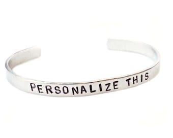 Adjustable Bracelet Cuff, Aluminum Bracelet Cuff, Custom Bracelet Cuff, Personalized Bracelet, Custom Cuff, Hand Stamped Cuff, Best Friends