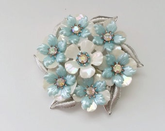 Coro floral pin brooch white and blue flowers with aurora borealis rhinestones