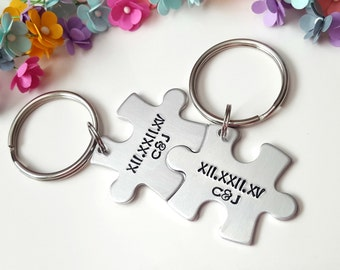 Boyfriend Gift, Christmas Gifts for Boyfriend, Roman Numeral Keychain, Couple Keychains, Gifts for Him, Puzzle Piece Keychains, Customized