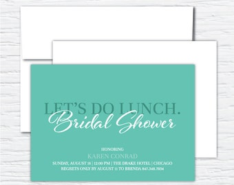 Let's Do Lunch, Bridal Shower, Luncheon Invitation, Customizable