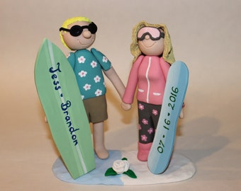 Polymer Clay Snowboarding Couple  Wedding Cake Topper, Handmade, Wedding Cake Topping, Decoration, Personalized Gift,  Wedding Cake, Topper