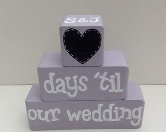 Personalised wooden wedding countdown blocks