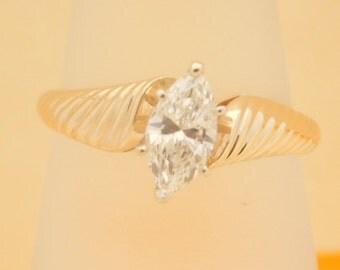 0.69 Carat Marquise Cut Diamond Solitatire Engagement Ring 14K