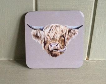 Set of 4 Scottish Highland Cow Coasters