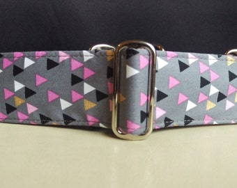 "Martingale Collar - Whippet, and Small to Medium Dog - 1.5"" width - Pink & Gold Triangles"