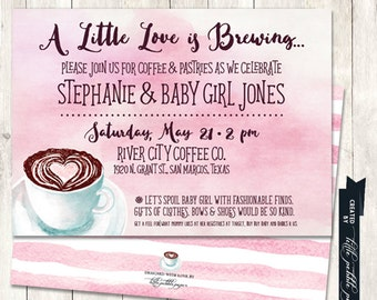 Coffee Baby Shower Invitation, Coffee Themed Shower, Coffee Cup Invitation, A Baby is Brewing Invitation, Pink Baby Shower Invitation