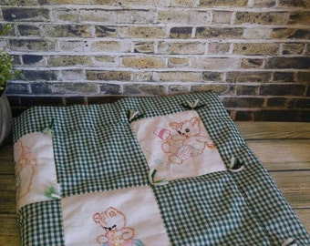 Hand Embroidered Baby Quilt, Teddy Bears, Green Gingham, Yarn Ties