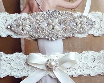Vintage Wedding Garter Set Bridal Pearl Belt Ivory