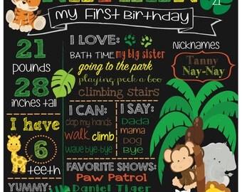 Safari Animals Birthday Boy Chalkboard, Any age available, Digital File