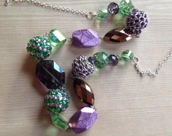 Purple Statement Necklace, Glass Necklace, Necklace, Beaded Necklace, Beadwork Necklace, Gift For Her