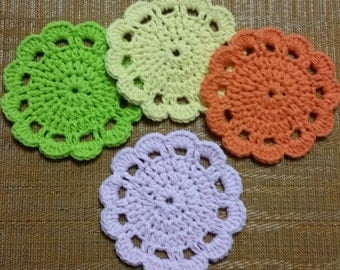 Crochet Flower Coasters, Set of 4 Crochet Coasters, Beverage Coasters