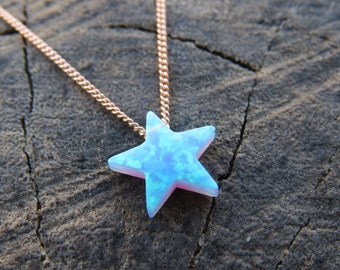 Opal star necklace etsy opal necklace opal star necklace opal silver necklace opal jewelry blue opal aloadofball Gallery