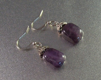 Sterling Polished Amethyst Drop Earrings, French Hook, February Birthstone