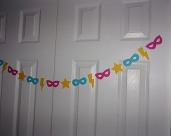 Super Hero Garland - Hot Pink, Turquoise Blue, Primary Yellow Carstock Paper - Mask, Lightening Bolt, Star Girl Party Hanging Decor