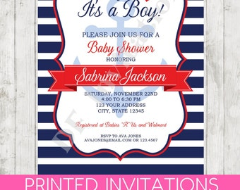 Nautical Baby Shower Invitation   Printed Nautical Baby Shower Invitation  By Dancing Frog Invitations