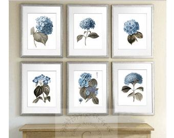 Gift for bride, Blue Hydrangea Flowers Botanical Print Set of 6 Art Print Blue Hydrangeas Wall Art living room decor bedroom decor
