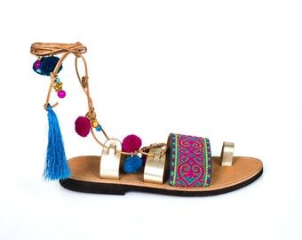 Bohemian-Lace Up Sandal-Crete -charms and poms