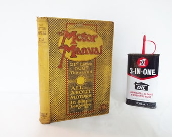 The Motor Manual - All About Cars In Simple Language / Vintage 1920s Motoring Manual / Packed With Information, Diagrams and Vintage Adverts