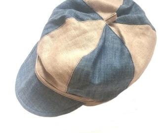 Boys Linen hat beige denim, summer linen hat, boys hat, newsboy hat, Toddler boy hat, Linen newsboy cap, handmade linen hat