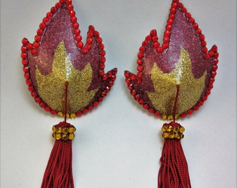 Flame Glitter Pasties with Tassels