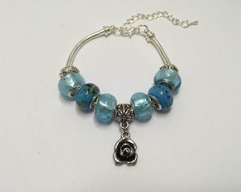 Bracelet charm's, blue, with charm flower ref 745