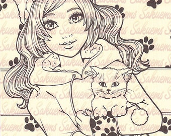 little kitty girl kitten blank stamp to color line art drawing by sakuems - Coloring Pages Beautiful Angels