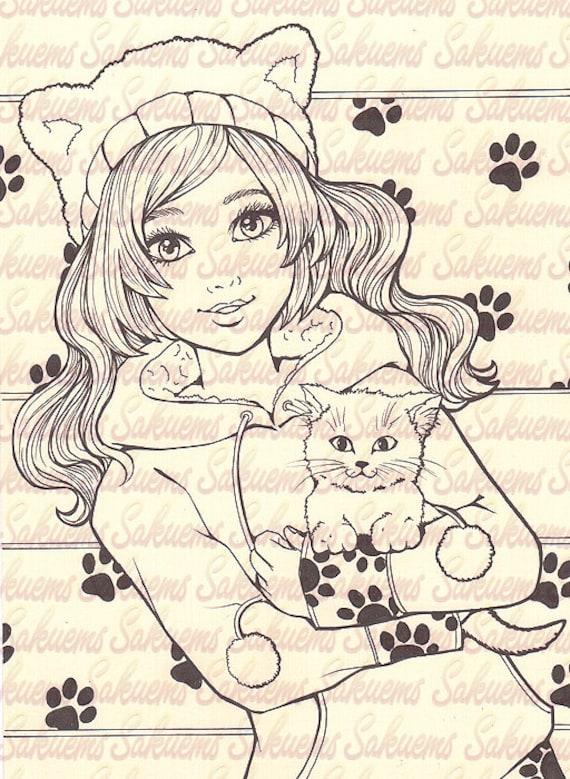 Little Kitty Girl Kitten Blank Stamp To Color Line Art