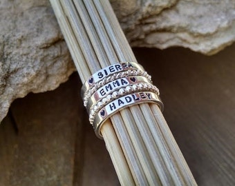 Stackable Mother's Name Rings Sterling Silver Personalized Set of FIVE