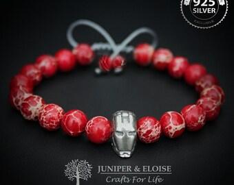 Iron Man Bracelet, Mens Bracelet , Ironman charm, Silver Ironman, Superhero, Red Bracelet, For Iron Man Fans, Armband