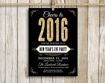 New Year's Eve Party Invitation, Gold and Black, 5x7 Custom Print