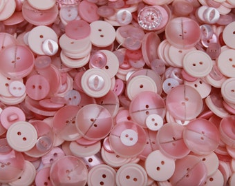 Baby pink buttons, 100 buttons for arts and crafts, various size buttons, DIY supplies, buttons for baby girls, assorted pink buttons