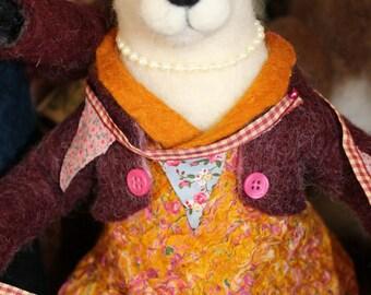 Mrs Bunting Needle Felted  Art Doll OOAK