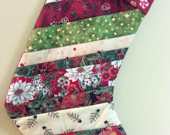 Christmas stocking/quilted Xmas stocking/patchwork Christmas stocking/holiday Santa stocking/quilted patchwork stocking/Santa stocking