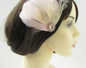 Rose Gold Blush Pink Cream Feather Fascinator Hair Clip Bridal Silver Vtg 9AS