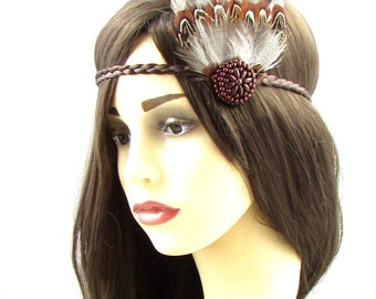 Brown Native American Feather Headdress Red Indian Headband Pocahontas Boho 620