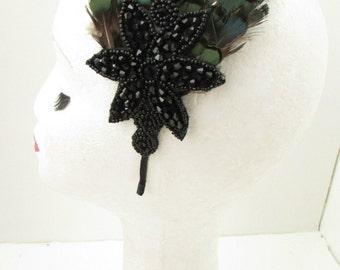 Dark Emerald Green Black Feather Headpiece Fascinator Headband Vintage 1940s Y46