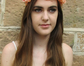 Peach Rose Flower Headband Garland Vintage Boho Festival Elasticated Stretch Z73