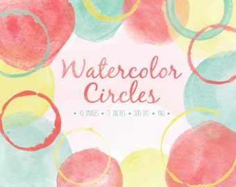 Watercolor Circles Clip Art. Hand Painted Bubbles. Hand Drawn Frames and Borders. Digital Watercolor Splotches. Digital Mint Watercolor.