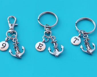 ANCHOR KEYRING,Zipper Pull,Purse Dangle,Initial or Number,anchor,anchor my soul,friend,friendship,sailing,beach,ocean,sailor,Navy,coast,113