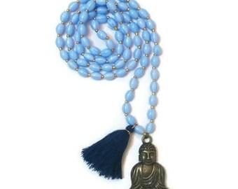 Long Blue Necklace - Blue Beaded Necklace - Blue Pendant Necklace - Long Beaded Necklace - Long Necklace With Pendant - Pendant Necklace