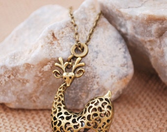 Deer necklace, wild jewellery, animal pendant, bronze tone, simple necklace, nature necklace, hippie style, everyday style