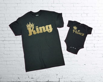 King and Prince T-shirt.King T-shirt. Prince baby body suit. Father and Son T-shirts.