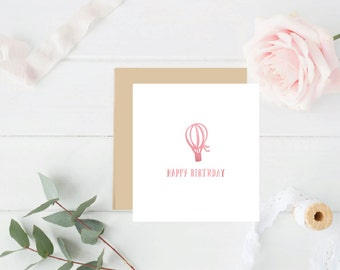 Happy Birthday Hot air Balloon Pink Foil Birthday Card