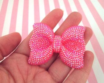 One Big Hot Pink Rhinestone Bow Cabochons, Large Sweet Lolita Bowknot Cabs,  #356