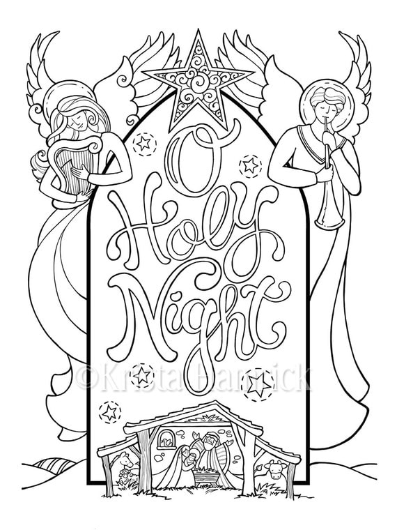 O Holy Night Nativity Scene Coloring Page In Two Sizes