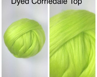 Citron Corriedale Top / Dyed Corriedale Roving / Corriedale Felting / Spinning Fiber / 2oz 4oz 8oz